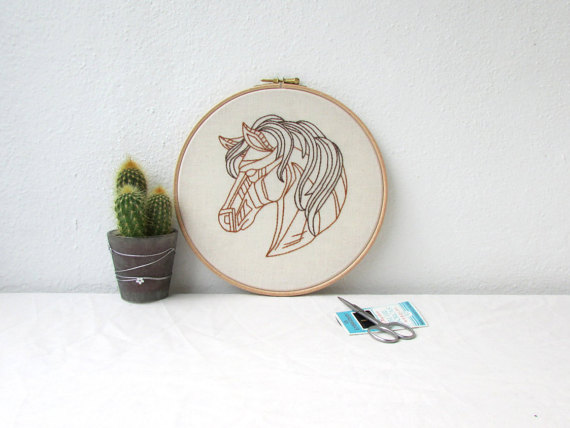 Horse home hand embroidery hoop art