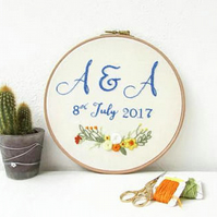 Wedding date and initials hand embroidery hoop
