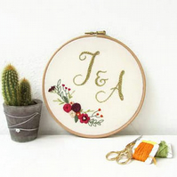 Initials hand embroidery hoop