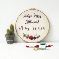 Baby name, weight and date of birth embroidery hoop