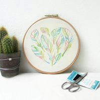 Heart of feathers hand embroidery art