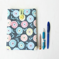 Fabric IPad Mini case, blue grey floral fabric