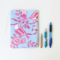IPad mini case, pink and blue fabric