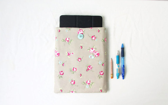 10 inch IPad case, floral fabric
