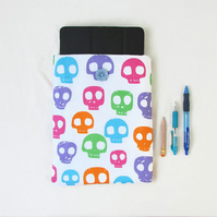 10 inch IPad case, bright skill print fabric