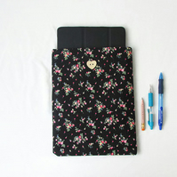 10 inch IPad case, dark floral fabric