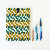 IPad mini 4 case, gold and green fabric