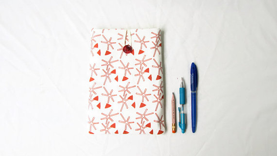 IPad mini 4 case, hand printed fabric