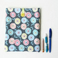 Floral Ipad case, blue grey fabric