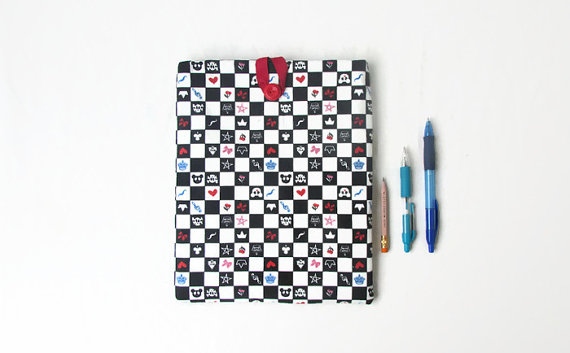 CLEARANCE Ipad case, checkerboard fabric