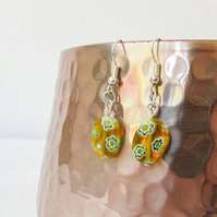 CLEARANCE Yellow and white glass earring