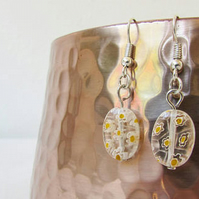 CLEARANCE White and yellow glass earring