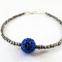 Beaded stacking bracelet, grey and blue