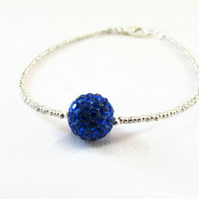 Beaded stacking bracelet, silver and blue