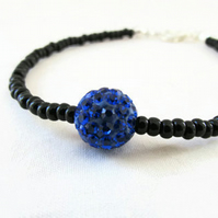 Beaded stacking bracelet, black and blue