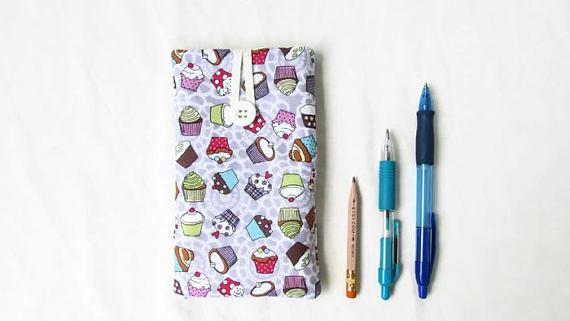 Iphone 6, 7 or 8 phone cover, lilac cupcake fabric