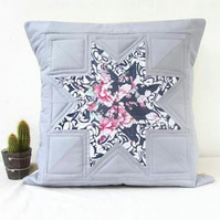 Quilted cushion cover, grey and blue star pattern