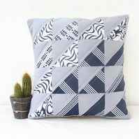 Small Quilted cushion cover, grey and blue