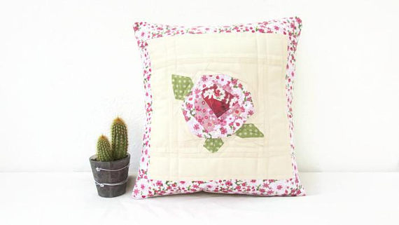 Pink rose patchwork cushion cover
