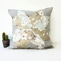 Quilted cushion cover, neutral floral fabrics