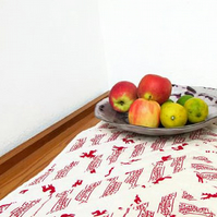 Quilted Christmas table runner, rustic scandi fabrics