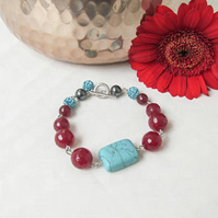 Turquoise and ruby jade bracelet, t-bar bracelet