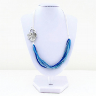 Ocean colours necklace, seed bead and chain necklace