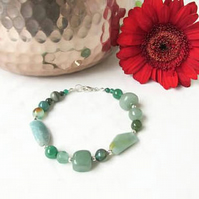 Mixed green semi precious gemstone bracelet