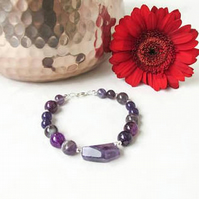 Mixed purple semi precious gemstone bracelet