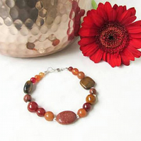 Mixed brown and gold semi precious gemstone bracelet