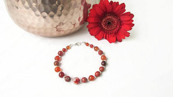 Semi precious gemstone beaded bracelet in brown beads