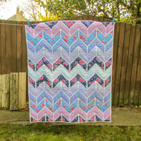 Toddler bed or crib quilt - pink and blue floral patchwork quilt