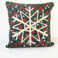 Quilted Christmas cushion cover - snowflake patchwork cushion in green fabric