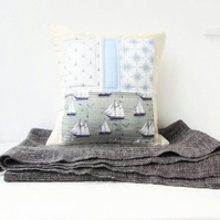Nautical patchwork cushion cover - for boys nursery or baby room