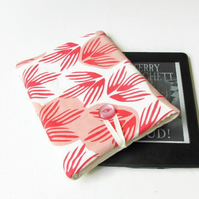 Kindle sleeve in hand printed peach fabric