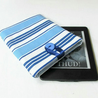 Kindle cover in blue striped fabric - kindle or kindle paperwhite