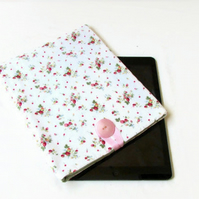 Ipad or Ipad Air tablet case, cream fabric with tiny flowers