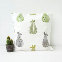 Green pear print cushion cover - 16 inch square