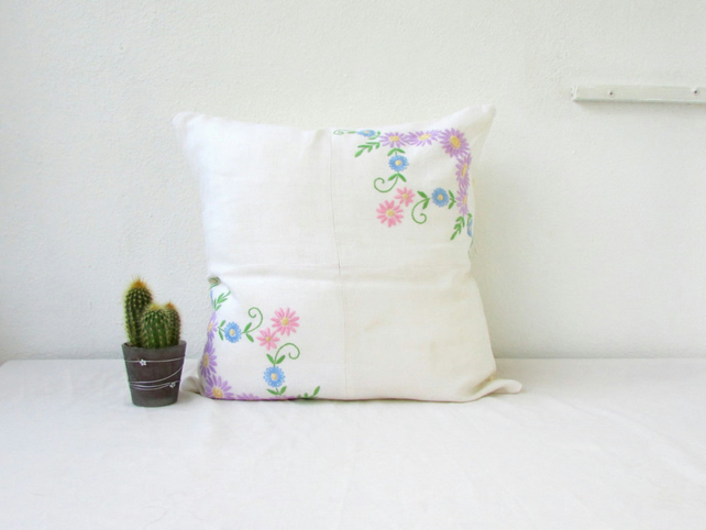 Upcycled cushion cover with vintage hand embroidery