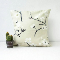 Cherry blossom print cushion cover - 16 inch square