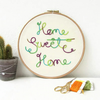 Home sweet home wall hanging - hand embroidery hoop art