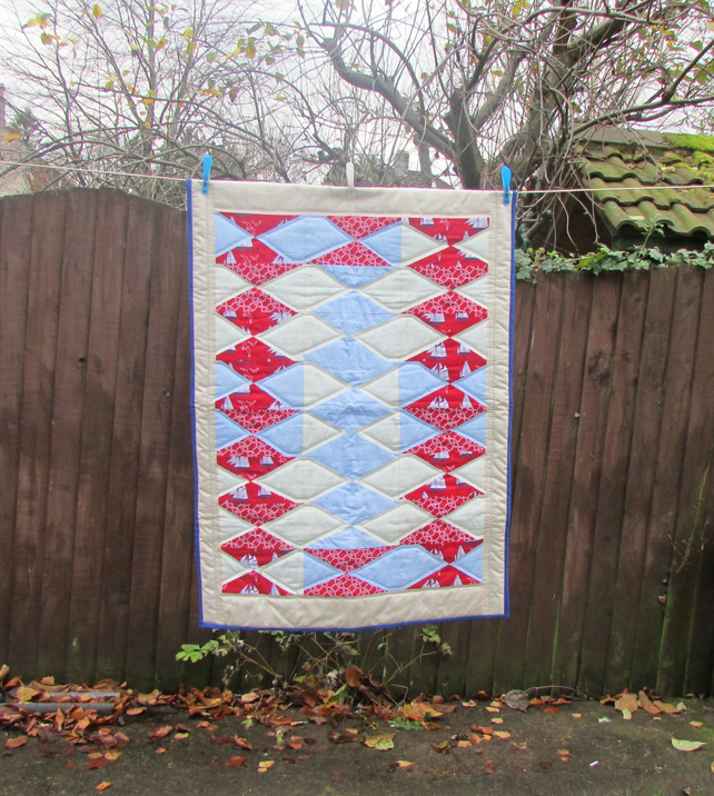 Nautical baby quilt - red and blue quilted blanket or play mat
