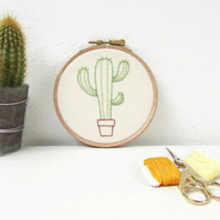 Cactus wall hanging - hand embroidered wall art