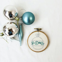 Christmas blue bauble hand embroidery art