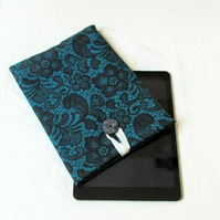 10 inch IPad sleeve in teal lace fabric - Kindle DX or Samsung Galaxy Tab S6