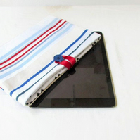 10 inch tablet case in striped nautical fabric - IPad, Kindle DX