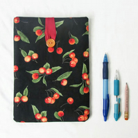 IPad mini case - black cherry print fabric