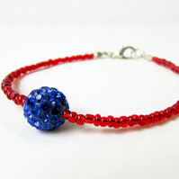 Beaded stacking bracelet - red and blue