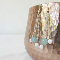 Blue and white dangle chain earrings