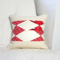Quilted cushion cover in red and cream nautical fabrics